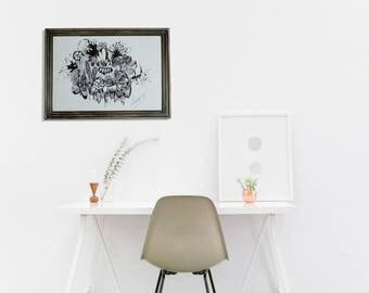 Mural hand framed graphics / vintage wood frame
