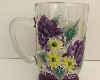 Unique Coffee Mug - Hand Painted Mug - Coffee Mug - Painted Glass - Glass - Unique Gift