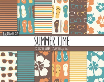 Summer Digital Paper Package with Retro Beach Patterns. Vintage Flip Flops, Sunglasses and Hibiscus Backgrounds. Digital Scrapbook