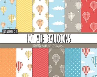 Hot Air Balloons Digital Paper Pack. Colorful Air Balloon, Clods, Chevron and Dots Patterns. Digital Scrapbook Backgrounds. Instant Download