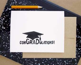 Linocut Greeting Card // graduation card // congratulations card // commencement card // graduation gift