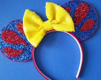 Snow White Mouse Ears || Snow White Mickey Mouse Ears || Seven Dwarfs Mouse Ears|| Mouse Ears Headband | Mickey Ears