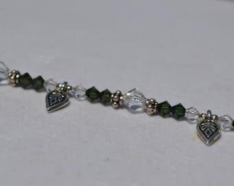 Swarovski Crystal Bracelet with Leaf Charms