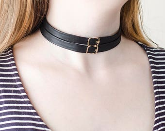 Leather Choker Necklace|for|Woman Jewelry Gift|for|Her Black Choker|for|Woman Necklace Buckle Choker Necklace Collar Girlfriend Gift under