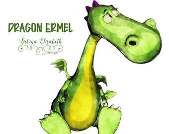 Dragon Ermel 4, bright green, Watercolor Clipart, Baby, Child, Fun, Craft