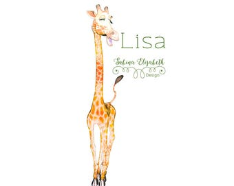 Giraffe Lisa 2, beige, Watercolor Clipart, Baby, Child, Fun, Craft