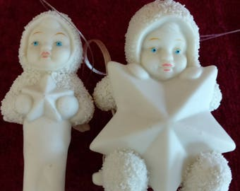 Dept. 56  Snowbabies My First Star Ornament AND Dept. 56 Snowbabies Swinging on a Star Ornament