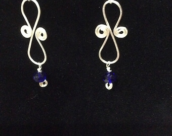 Spiral wire wrapped earrings with blue glass bead