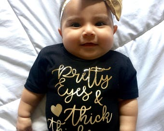 Pretty eyes and thick thighs tee shirt with bow and headband