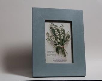original vintage 1920 birthday postcard in hand painted frame