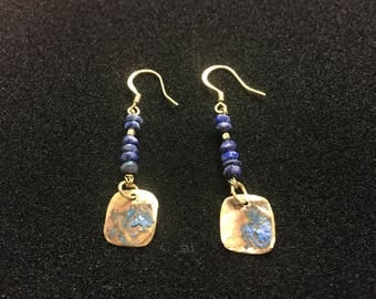 Gold Brass Lapis Lazuli Blue Natural Patina drop earrings