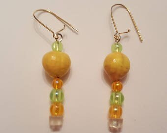 Handmade beaded earrings- gold colored earrings