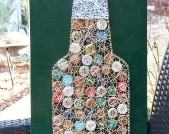 Beer Bottle String Art, Bottle Tops, Pub Decor, Hotel Decor.  Cotton gift bag included.