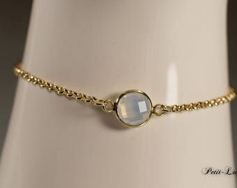 Faceted glass Opal white on gold plated sterling