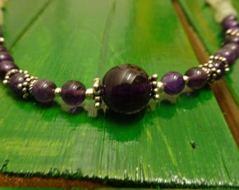 Necklace amethyst and jade