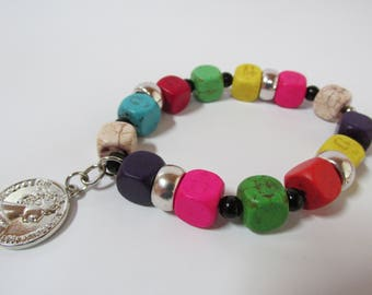 Multi-Color Stone Beads Bracelet/Stretch/Stacking Bracelet/Women-Teens/Holiday Gift/Gift for Her