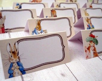16 Peter Rabbit, Beatrix Potter table place name cards, party, baby shower, birthday, party decoration, table decortion, all different