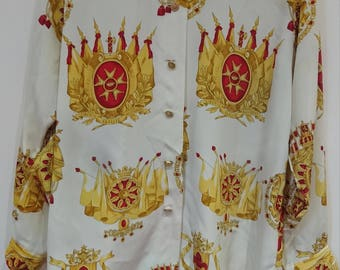 One size/ Vintage Baroque Scarf Print Blouse with Iconic Pattern of Luxe gold and Red Tones on a Cream Backdrop
