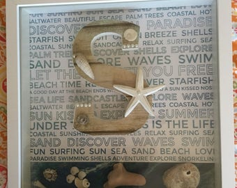A Beach frame celebrating the letter S for Sun,Surf,Sand,Swimming,Shells,Starfish...