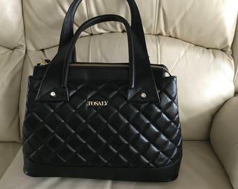 Black Leather Handbag Quilted