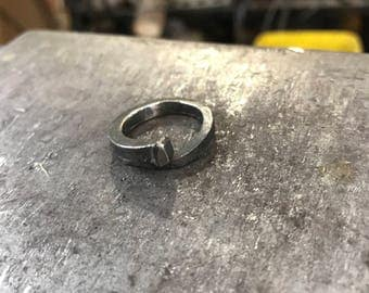 Stainless steel hand forged nail ring