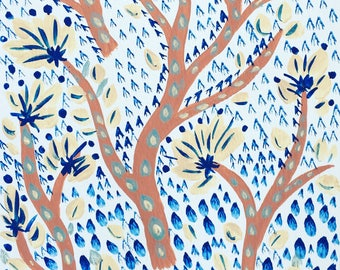 Bronze and blue branches original painting