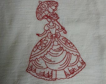 Victorian Lady Layers - Embroidered Flour Sack Towel
