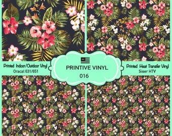 Tropical Flower Pattern Printed Vinyl/Siser HTV/ Oracal/ Indoor Vinyl/ Outdoor Vinyl/ Heat Transfer Vinyl- 016