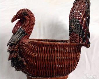 Vintage Bird Basket, Decorative Basket, Wicker Basket, Rustic Decor