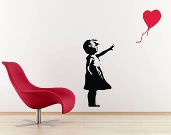 Banksy Wall Decal - Girl With Balloon Heart Wall Decal - Banksy Vinyl Wall Art
