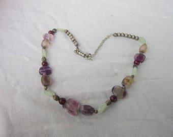 Vintage Retro Silver Tone & Real Stone Beaded Necklace