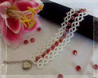 Tatting lace bracelet with crystals