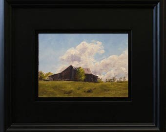 Weathered Barn, oil painting on hardboard, 5x7 inches, in satin black frame