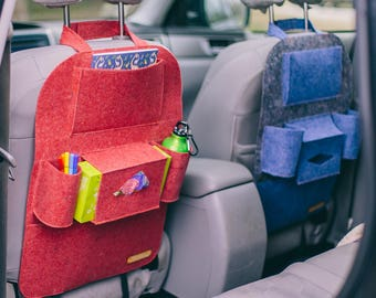 """Red car seat cover, Extra pockets for car, Car seat protector, Car seat organizer, """"WildWind"""" pockets for car"""