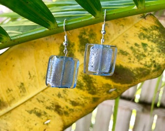 Light Blue Frosted Bead Earrings
