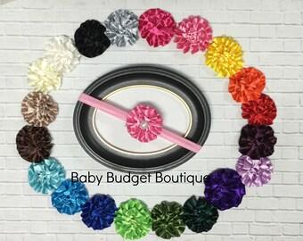 Satin Rosette Vintage Pearl Headband Choice of Color Newborn Preemie Toddler First Birthday