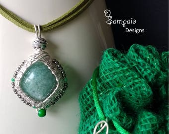 Green Emerald Passion, Wire Wrapped Pendant