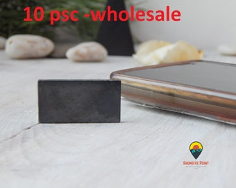 Shungite Plate Set 10 psc Rectangle Shungite Tile Schungit Platten for Cell Phone for mobile phone Protection Adhesive Back EMF Protective
