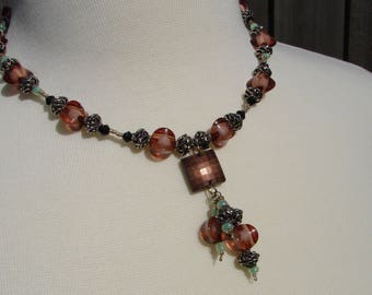 Rustic Brown, Silver and Green Beaded Necklace
