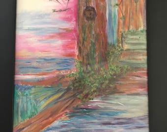Tree by the Brook is an original,  framed acrylic painting on canvas.