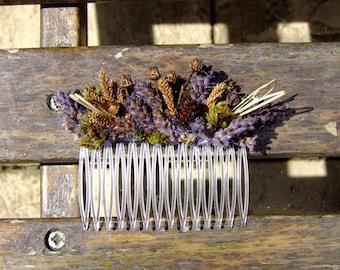 dried lavender hair comb