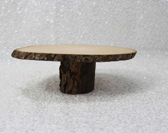 "11"" Wooden Rustic Cake Stand"