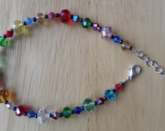 Rainbow Coloured Crystal Bracelet with Silver Fittings