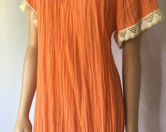 Orange Vintage Square Lace Neckline Large Short Sleeve Dress-Debbie Reynolds Collection