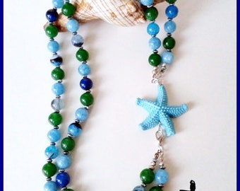 Blue Green and blue Starfish necklace