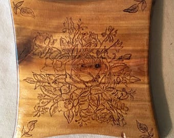 Mixed Bouquet Pyrography Wall Hanging