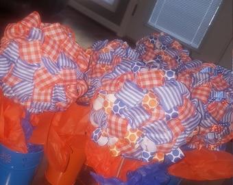 Orange & Blue Flower Centerpeices