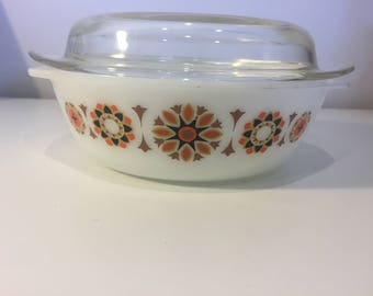 Cool Retro Orange, Brown and Black Pattern Pyrex Dish with Lid