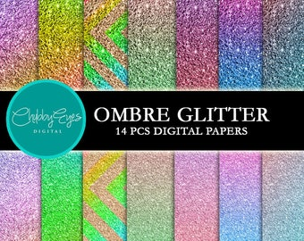 Ombre Glitter Digital Papers Instant Download Scrapbook Papers Colorful Glitter Clipart