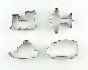 4pcs/Set Transportation Cookie Cutters- Train/ Plane/ Ship/ Car - Fondant Biscuit Mold - Pastry Baking Tool Set